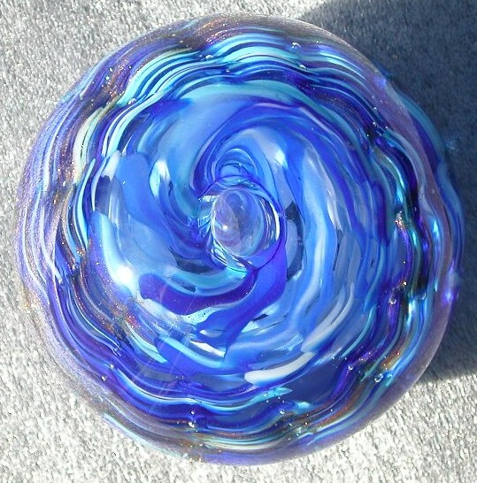 Blue Paperweight Blown Glass