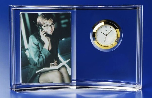 Crystal Clock and Photo Frame