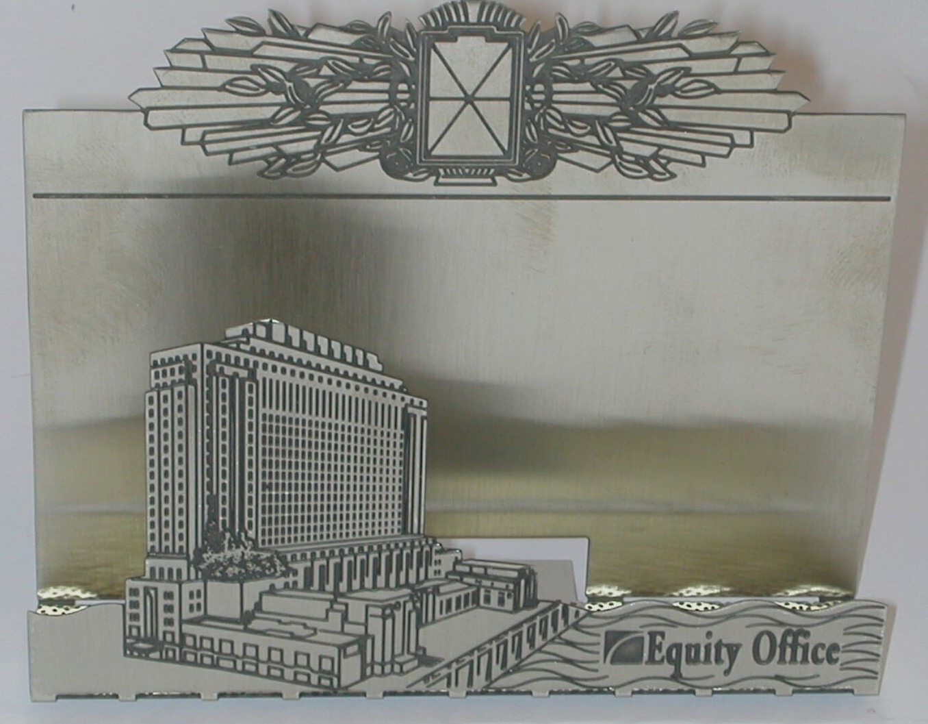 Etched business card holder, nickel