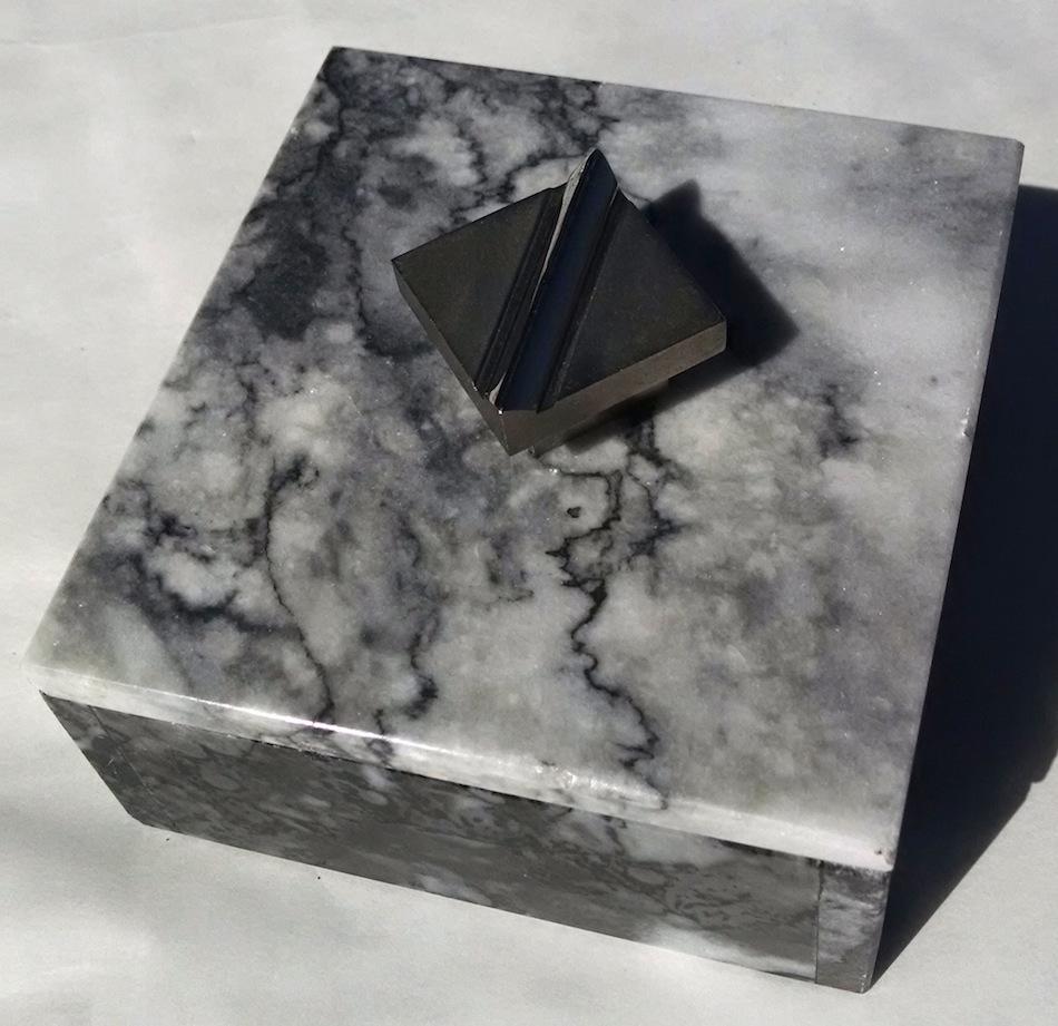 Marble Box with machined knob, logo mark on knob