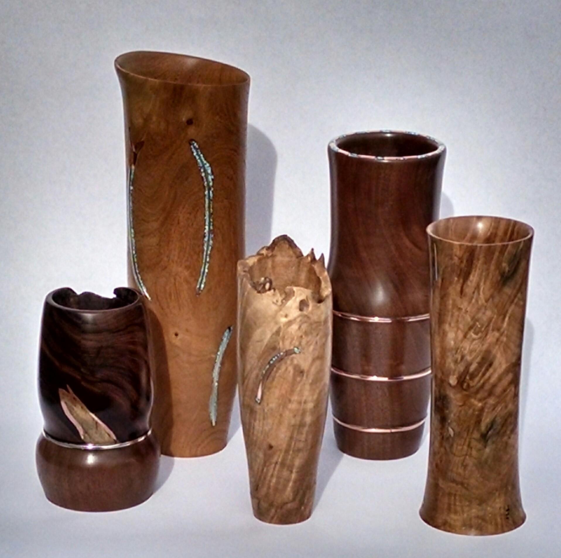 Turned Wood Vases